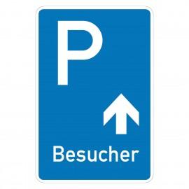 Beschilderung Parkplatz Besucher oder Kunden geradeaus