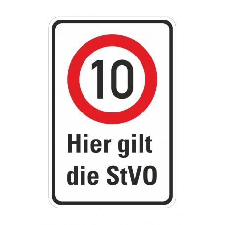 """Kombiverkehrszeichen """"10 km/h / StVO gilt"""""""