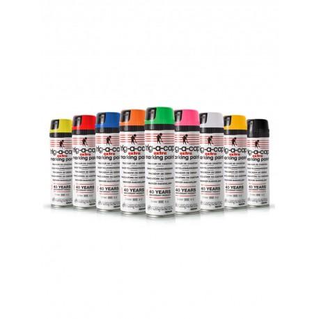 Fluoreszierendes Markierungsspray gelb orange rot blau pink