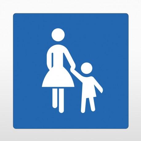 Mutter Kind Parkplatz Bodenschild blau
